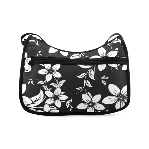 Black And White Designs Patterns Flower Crossbody Bags (Model 1616)