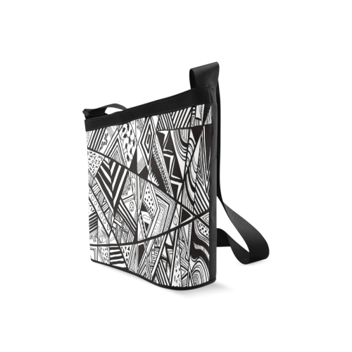 Black And White Vintage Pattern Design Crossbody Bags (Model 1613)