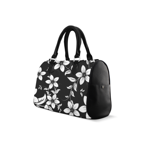 Black And White Designs Patterns Flower Boston Handbag (Model 1621)
