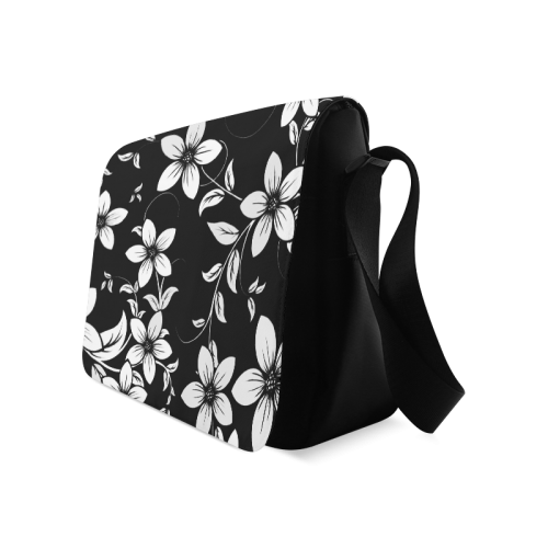 Black And White Designs Patterns Flower Messenger Bag (Model 1628)