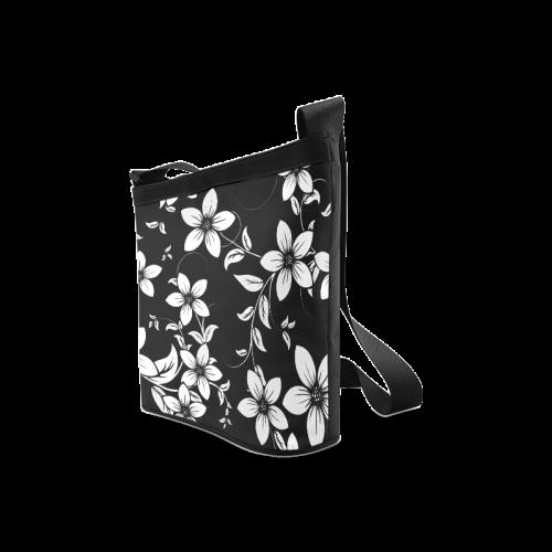 Black And White Designs Patterns Flower Crossbody Bags (Model 1613)