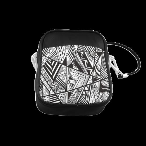 Black And White Vintage Pattern Design Sling Bag (Model 1627)