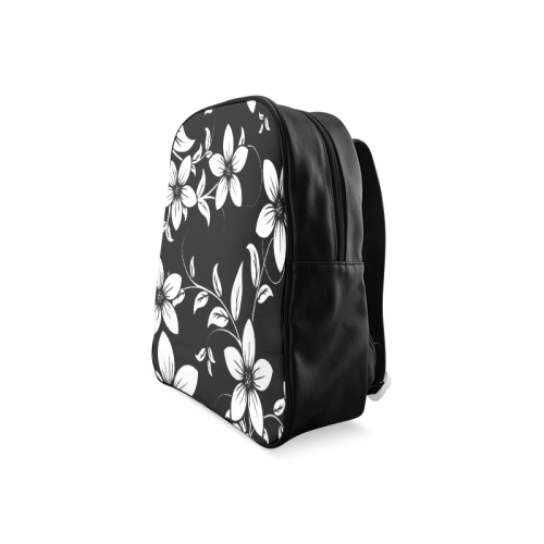 Black And White Designs Patterns Flower School Backpack/Large (Model 1601)