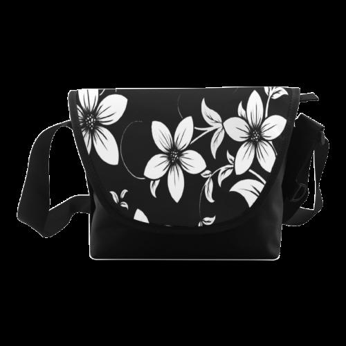 Black And White Designs Patterns Flower Crossbody Bag (Model 1631)