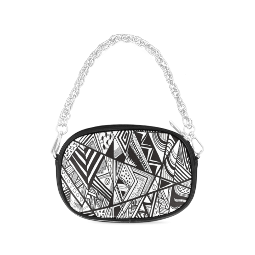 Black And White Vintage Pattern Design Chain Purse (Model 1626)