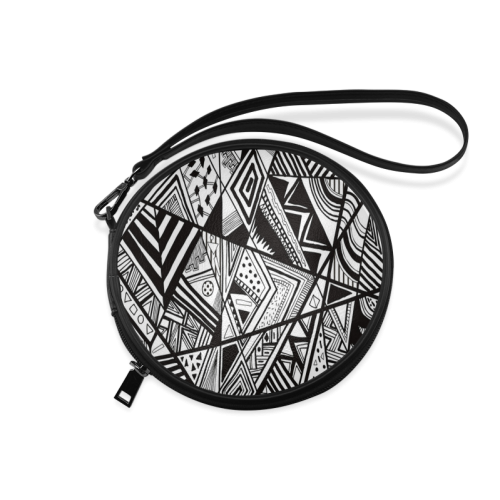 Black And White Vintage Pattern Design Round Makeup Bag (Model 1625)