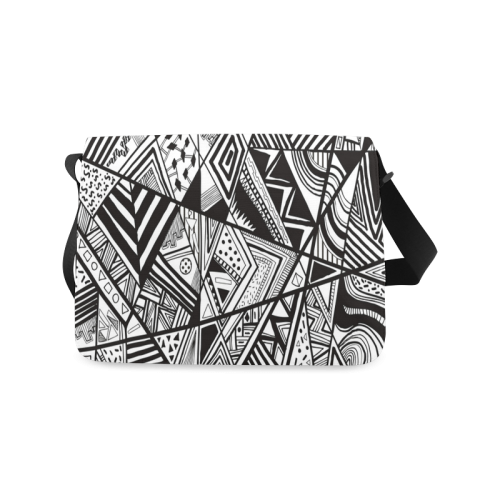 Black And White Vintage Pattern Design Messenger Bag (Model 1628)