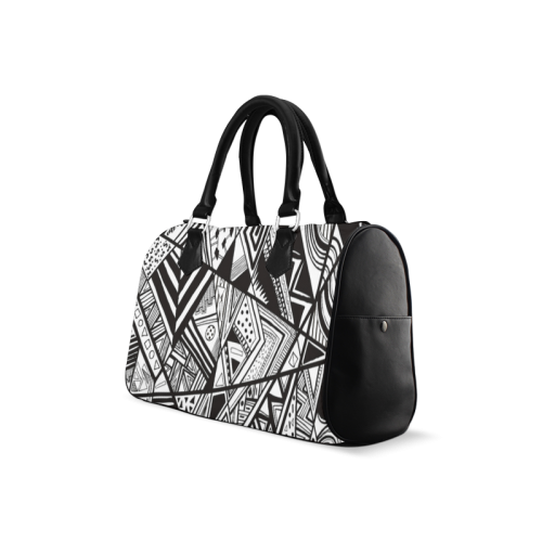 Black And White Vintage Pattern Design Boston Handbag (Model 1621)