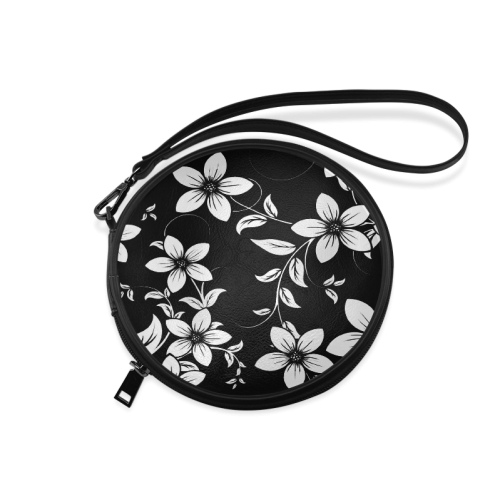 Black And White Designs Patterns Flower Round Makeup Bag (Model 1625)