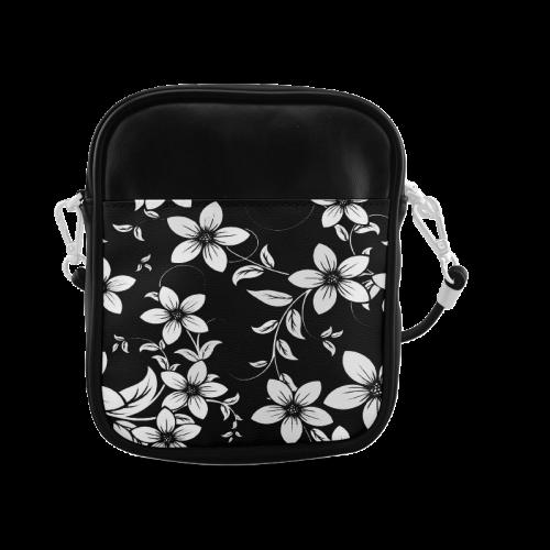 Black And White Designs Patterns Flower Sling Bag (Model 1627)
