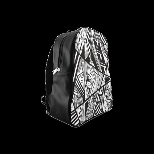 Black And White Vintage Pattern Design School Backpack/Large (Model 1601)