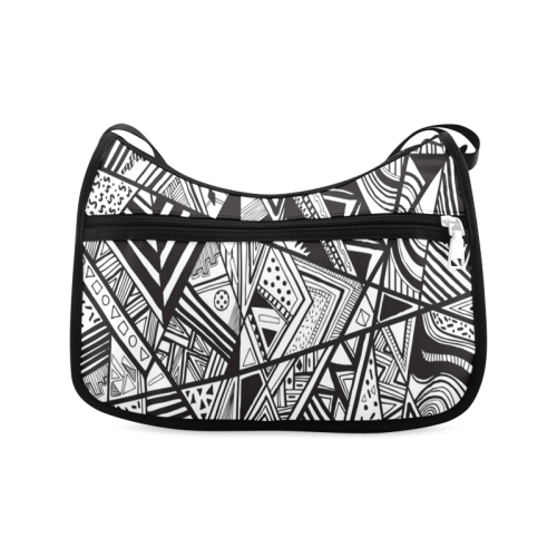 Black And White Vintage Pattern Design Crossbody Bags (Model 1616)