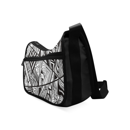 Black And White Vintage Pattern Design Crossbody Bags (Model 1616)