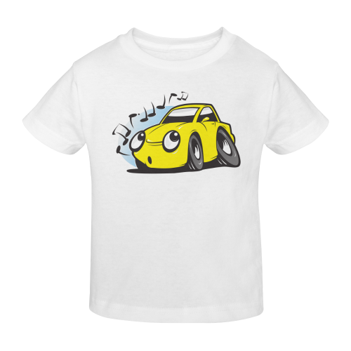 Whistling cartoon car. white t-shirt Sunny Youth T-shirt (Model T04)