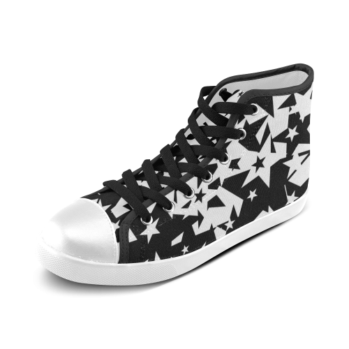 black_and_white_star_by_mythicdragon30 Women's High Top Canvas Shoes (Model 002)