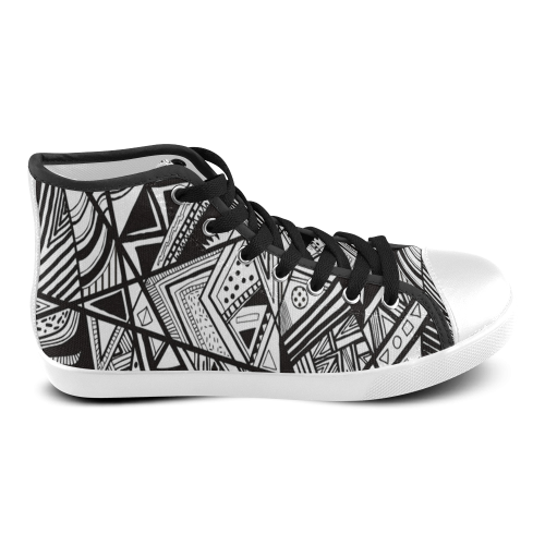Black And White Vintage Pattern Design Women's High Top Canvas Shoes (Model 002)