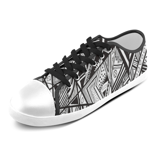Black And White Vintage Pattern Design Women's Canvas Shoes (Model 016)