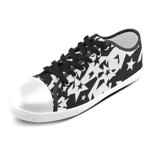black_and_white_star_by_mythicdragon30 Women's Canvas Shoes (Model 016)