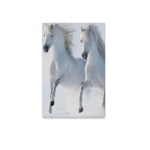 "Animal Series Design 2 White Horses Canvas Print 12""x18"""