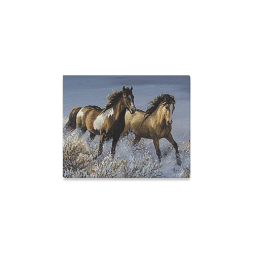 "Running Horses Paintings Animal Design Custom Uniq Canvas Print 10""x8"""