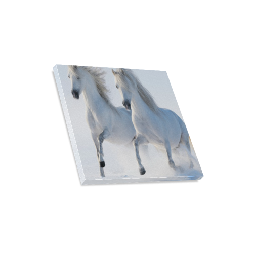 "Animal Series Design 2 White Horses Canvas Print 16""x16"""