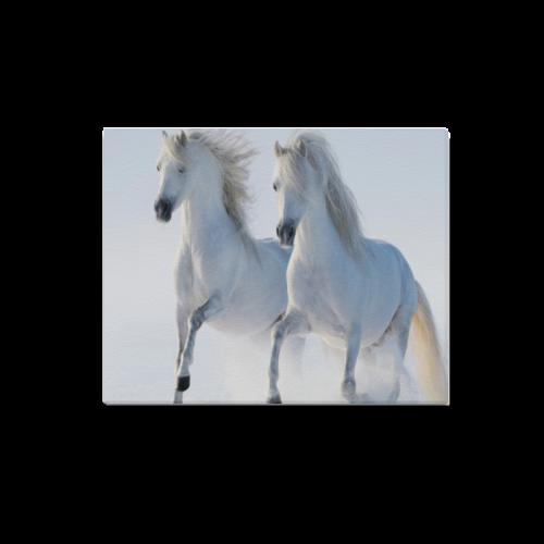 "Animal Series Design 2 White Horses Canvas Print 20""x16"""
