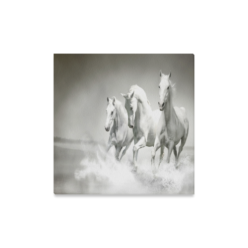 "Animals Series Design White Horses Running Custom Canvas Print 16""x16"""