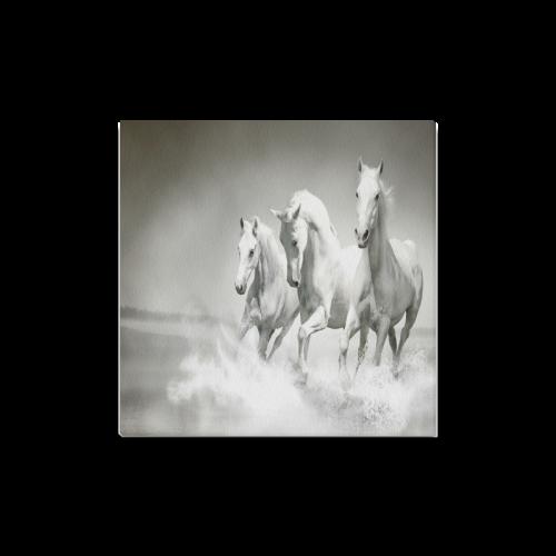 "Animals Series Design White Horses Running Custom Canvas Print 16""x16"""