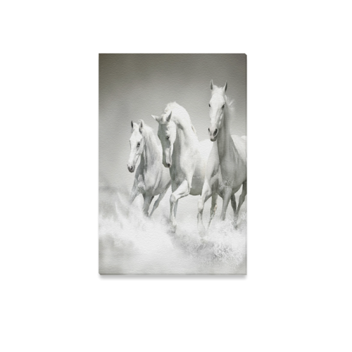 "Animals Series Design White Horses Running Custom Canvas Print 12""x18"""