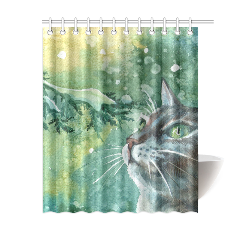 Best And High Quality Animal Cat Shower Curtain 60x72