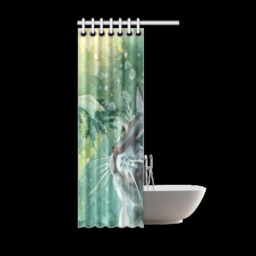 "Animal Cat Shower Curtain 36""x72"""