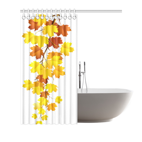 "Autumn Season Maple Leaves Natural Scenery Shower Curtain 66""x72"""