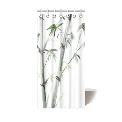 "Bamboo Painting Watercolor Pattern Design Shower Curtain 36""x72"""