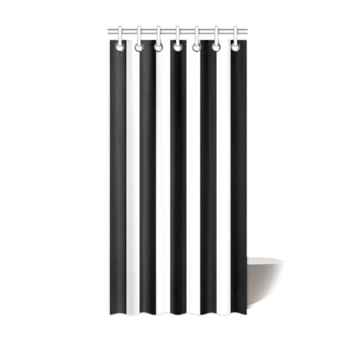 "Black And White Stripes Cool Design Shower Curtain 36""x72"""
