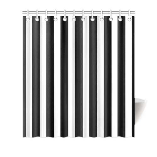 Black And White Stripes Cool Design Shower Curtain 66