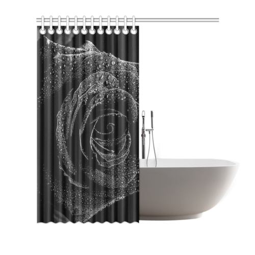 "Black Rose Shower Curtain 66""x72"""