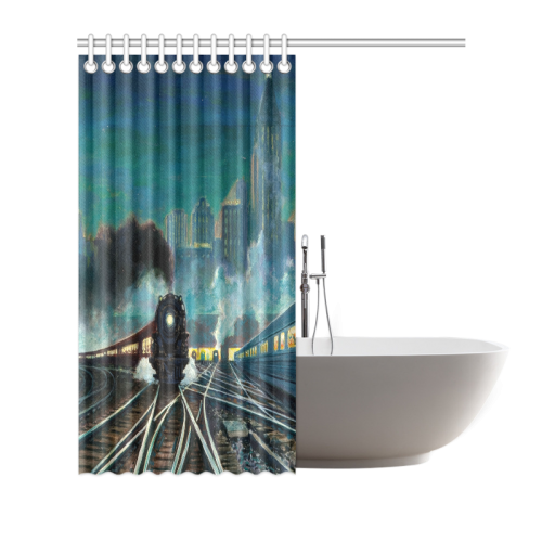 "Artistic_train_321935 Shower Curtain 66""x72"""