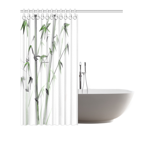 "Bamboo Painting Watercolor Pattern Design Shower Curtain 66""x72"""