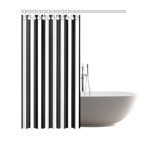 """Black And White Stripes Cool Design Shower Curtain 66""""x72"""""""