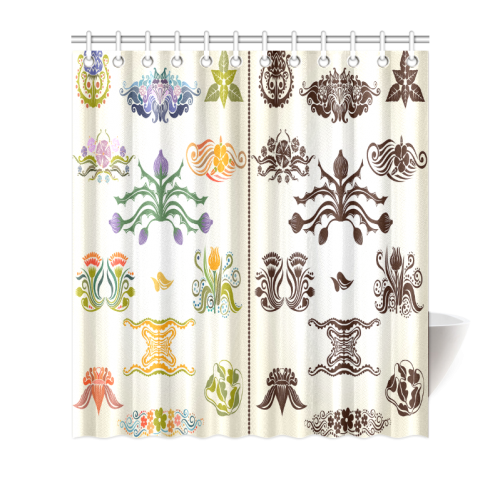 "Beautiful Plant Pattern Hot Sale Artsadd Design Shower Curtain 66""x72"""