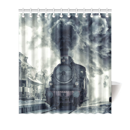 Best and High quality Steam Train Shower Curtain 66\