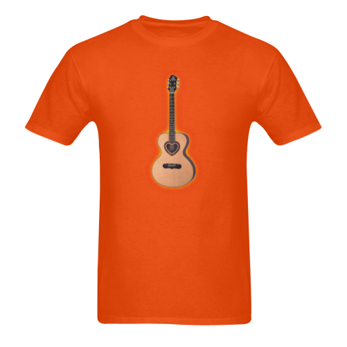 Acoustic Guitar heart Sunny Men's T- shirt (Model T06)