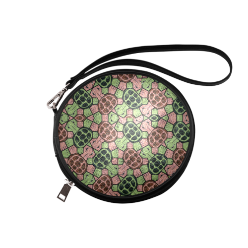 Abstract pattern turtle rules Round Makeup Bag (Model 1625)