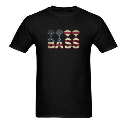 Bass  On USA Flag Sunny Men's T- shirt (Model T06)