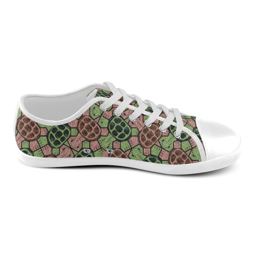 Abstract pattern turtle rules Women's Canvas Shoes (Model 016)