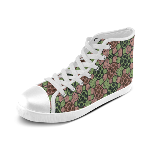 Abstract pattern turtle rules Women's High Top Canvas Shoes (Model 002)