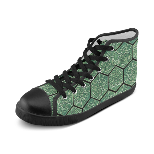 Bees rule abstract pattern Women's High Top Canvas Shoes (Model 002)