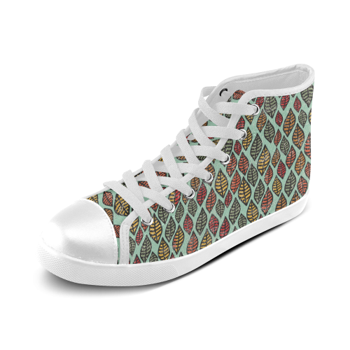 Beautiful leaf color Women's High Top Canvas Shoes (Model 002)