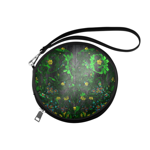 Abstract floral pattern Round Makeup Bag (Model 1625)