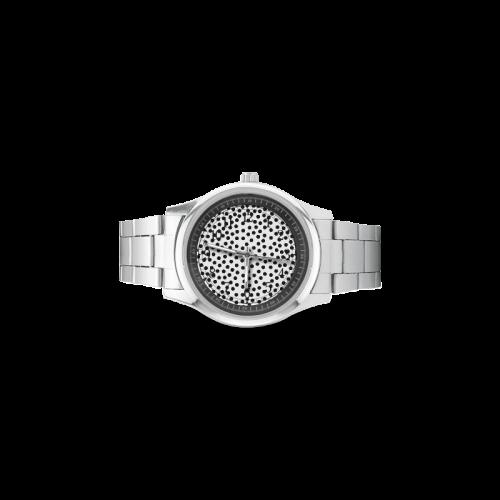 Black Polka Dot Design Men's Stainless Steel Watch(Model 104)